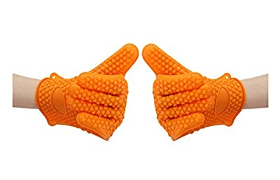 Suntake BBQ Gloves, Silicone Heat Resistant Gloves ( 1 Pair, Orange)