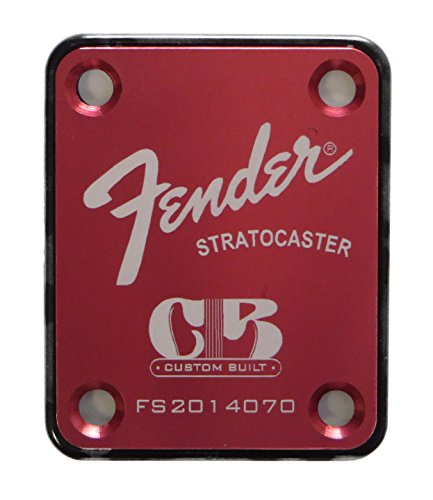 Fender Stratocaster Neck Plate with Custom Built logo - Red