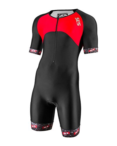 Men`s Triathlon Suit | Short Sleeve Aero Tri Suit | 3 Pockets | Skinsuit Trisuit | Great Fit And Comfortable (Black/Red, - Sleeves Suit With Tri