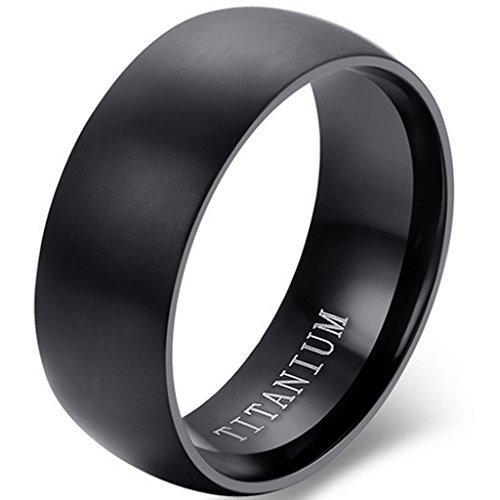 Jude Jewelers 8mm Brushed Matte Solid Titanium Ring Wedding Band (Black, 10)