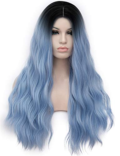 TopWigy Women Sky Wig 28 Inches Synthetic Heat Resistant Middle Part Ombre Long Wavy Wig for Cosplay Costume Party]()