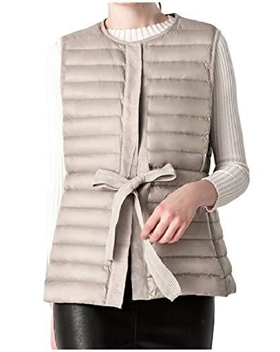 ブルーム印刷する高音Romancly 女性ol超軽量ウエストネクタイスキニーストライプダックダウンベストジャケット