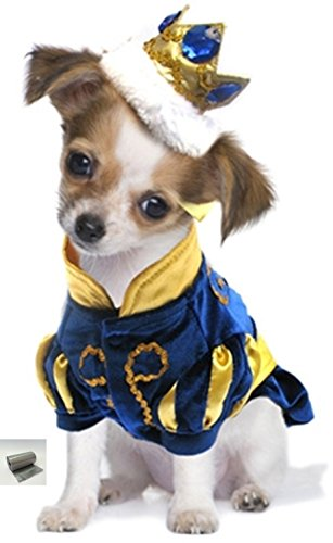 """Prince Charming Jeweled Crown Dog Costume with bags set – Royal Blue – Size (S - Chest 12-14"""", Neck 8.5"""", Back 9.25"""", Royal Blue)"""
