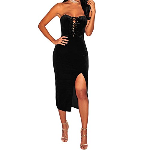 KALIN L Women's Burgundy Velvet Lace Up Strapless Slim Fit Bodycon Mini Dress
