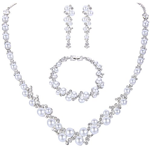 - EVER FAITH Simulated Pearl Crystal Bridal Necklace Earrings Bracelet Set Silver-Tone White