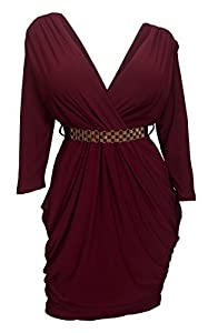 9. eVogues Plus Size Deep V-Neck Wrap Bodice Dress