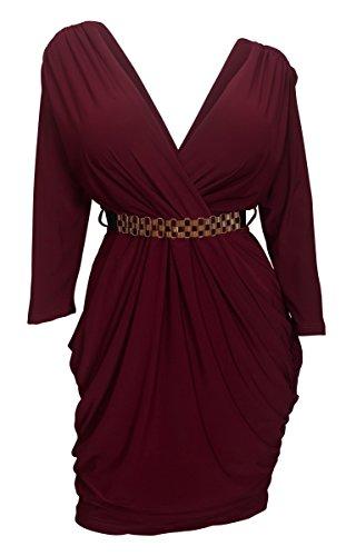(eVogues Plus Size Deep V-Neck Wrap Bodice Long Sleeve Dress Burgundy - 1X)