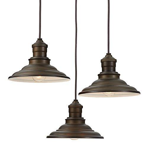 allen + roth Hainsbrook 18.3-in Aged Bronze Rustic Multi-Light Cone Pendant (Fixture Cone Light)
