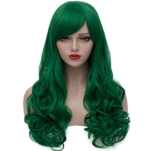 Bopocoko Green Wigs for Women Long Curly Hair Wigs Halloween Costume Wigs Harajuku Lolita Cosplay Wig with Bangs Heat Resistant Synthetic Wigs BU156GR -