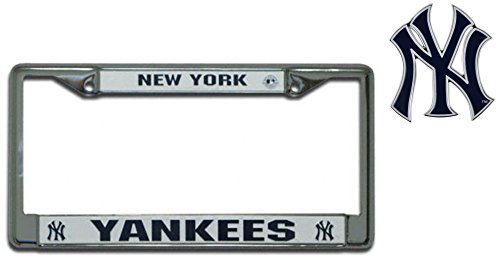 Official Major League Baseball Fan Shop Licensed MLB Shop Authentic Chrome Colored License Plate Frame and Matching Chrome Emblem (New York Yankees - BIG)