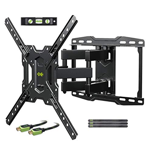 USX MOUNT TV Wall Mounts TV Bracket for Most 32-65 inch Flat Screen TV/Mount Bracket, Full Motion TV Wall Mount with Swivel Articulating Dual Arms, Max VESA 400x400mm (Flat Inch Mount 65 Screen)