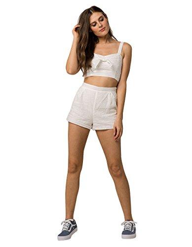 Creme Short (En Creme Eyelet Crop Top and Shorts Set, White, Small)