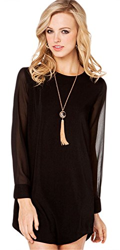Sexy Sheer Chiffon Curved Hem Mini Shift Shirt Blouse Dress Black