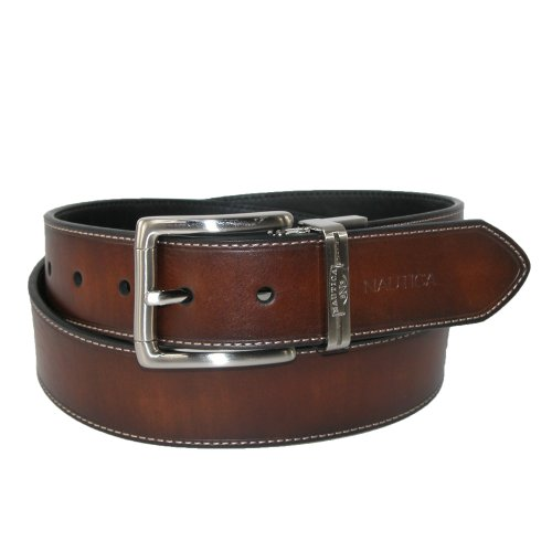 Nautica Mens Leather 1 3/8 Inch Heat Creased and Contrast Stitch Reversible Belt, 40, Brown to Black (1 3/8