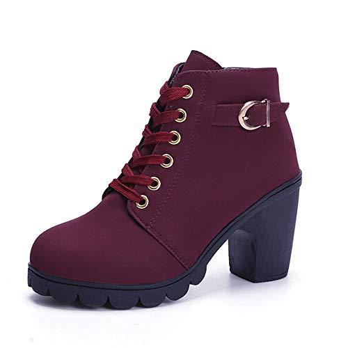 Mujer Invierno Sólidos Moda Con Alto Zapatos Pingxiannv Tacón Botas De Cordones Para ZOSgaq