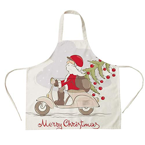 (3D Printed Cotton Linen Big Pocket Apron,Christmas,Vintage Print Santa on Motor Bike with Red Helmet Tree Decorations in Snow,White Gray Red,for Cooking Baking Gardening)