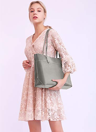 Soft Handbag Hot Tote Genuine Silver Women's Covelin Leather Bags Shoulder across Grey 50A8q