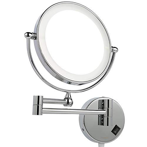 Homever Wall Mounted Makeup Mirror LED Lighted with 1x 5x Magnification, Round Shaped Double-Sided, 360 Free Rotation, Extendable and Chrome Finished for Bathroom, Spa and Hotel