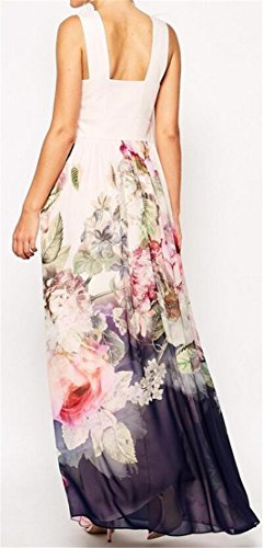 Sans Dossier Sans Manches Imprimé Floral Domple Femmes Crewneck Partie Longue Robe Comme Image