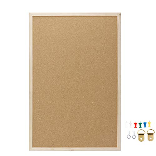Side Cork Bulletin Board Natural - Poity Cork Board Message Board Hanging Home Note Board Solid Wood Frame Background Photo Wall Personality Creative Advertising Bar Home Office Decoration 60cm 1Pc