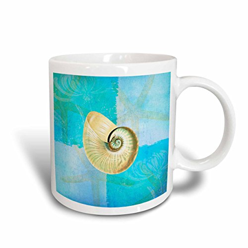 3dRose White Shell with Starfish Aqua and Blue Beach Theme Mug, 11-Ounce Beach Theme Coffee