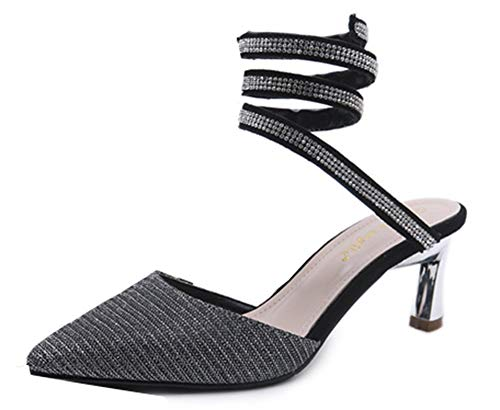 Brillanr Noir 5 5cm Femme Escarpins Strass Aiguille Blingbling Aisun Talon q7AO5