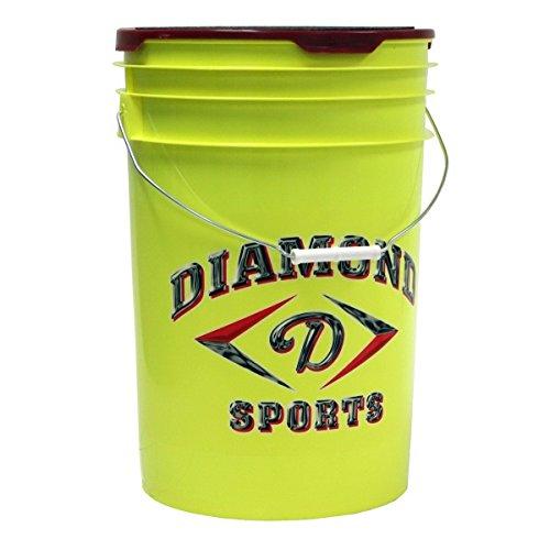 (Diamond 6-Gallon Ball Bucket with 18 12YOS Softballs, Yellow)
