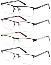 4-pack Blue Light Blocking Reading Glasses for Men Stylish Metal Readers