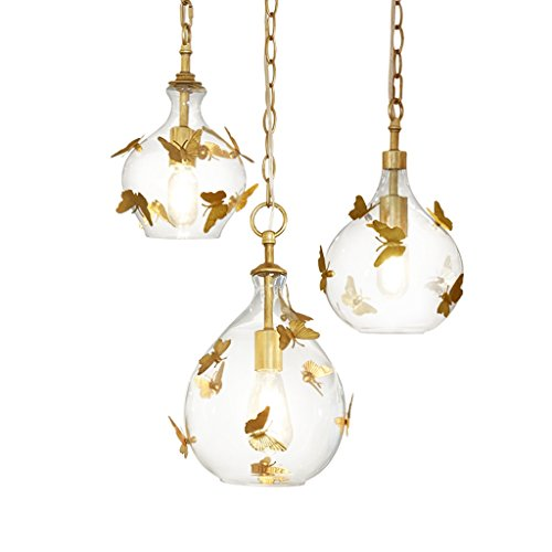 Docheer Vintage Rust Metal and Glass Ceiling Pendant Light for Kitchen Island, Bedroom, with Gold Iron Butterfly Decor, Glass Gold Chandelier for Dinning Room Home Decoration by Docheer (Image #7)