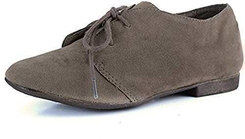 Breckelle's Suede Vegan 31W Taupe Lace Round Sandy Toe Oxford up Shoes Aw1AOqgr
