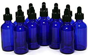 Vivaplex, 12, Cobalt Blue, 2 oz, Glass Bottles, with Glass Eye Droppers