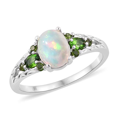 (Welo Opal Chrome Diopside Ring 925 Sterling Silver Platinum Plated Jewelry for Women Size 7)