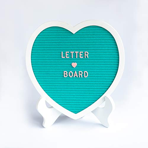 (Heart Shape Felt Letter Board - Premium 12x12 Inch Changeable Word Board | Tiffany Blue with White Frame - Includes 230 Letters)