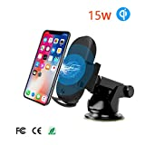 15W Wireless Car Charger with Infrared Sensing Car Phone Holder,Qi Certified,Adjustable Car Mount, Compatible with Samsung Galaxy S10 S9 Plus S8 S7 Edge Note 8 5 | iPhone X 8 Plus |Huawei