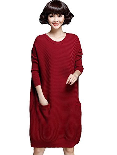 [Minibee Women's Round Neck Knitted Dress Sweater with Pockets Style 4 Wine] (Elf Outfit For Women)