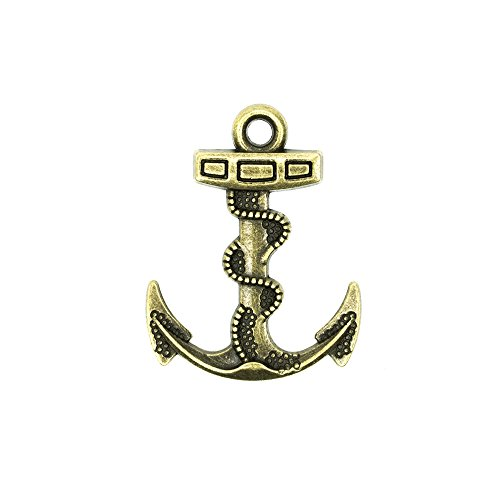 Paracord Planet Gold Nautical Anchor Pendant Bead Charms Available in Single, 5, 10 and 20 Packs (5 Pack)