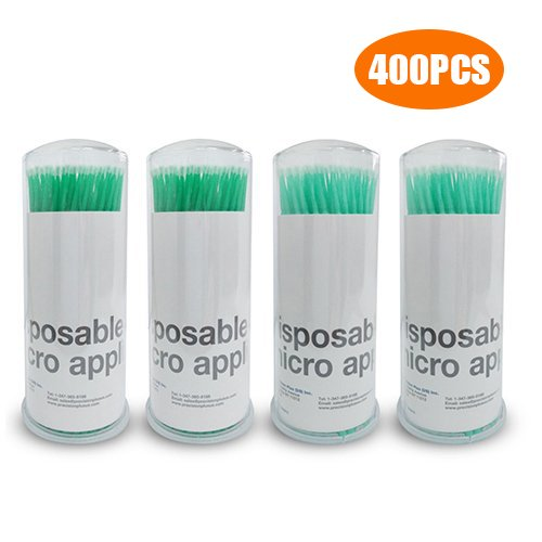 G2PLUS 400 PCS Disposable Micro Applicators Brushes for Eyelashes Extensions (Head diameter: ()