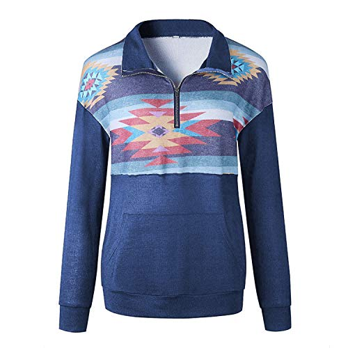 Artfish Women's Camouflage Print Tops 1/4 Quarter Zip Pullovers Sweatshirts with Pocket (Blue, L)