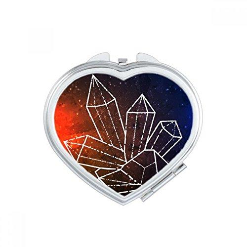 Brown Star Crystal Universe Sky Fantasy Heart Compact Makeup Mirror Portable Cute Hand Pocket Mirrors Gift (Compact Mirror Heart Crystal)