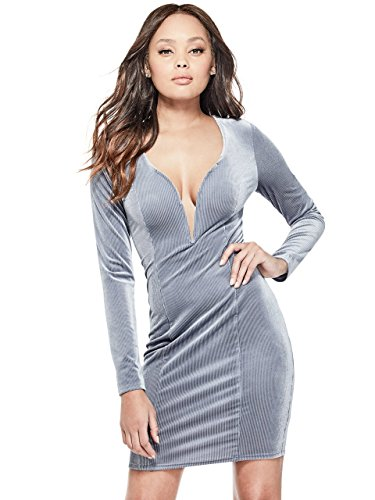 1dd940c008d G by GUESS Women s Jacinda V-Cut Velvet Long Sleeve Bodycon Dress ...