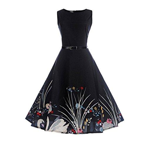 35beedba28a Ruhiku GW Women s Vintage Dresses 1950s Sleeveless Music Printed Party Swing  Rockabilly Dress with Belt