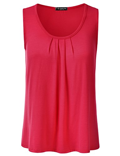 (EIMIN Women's Pleated Scoop Neck Sleeveless Stretch Basic Soft Tank Top RED L)