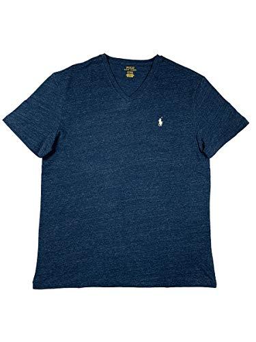 - Polo Ralph Lauren Men's Classic Fit V-Neck T-Shirt (Medium, Blue Eclipse/White Pony)