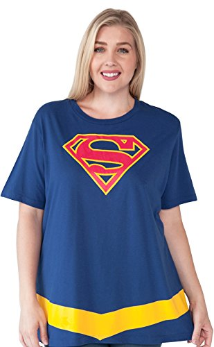 Super Plus Size Costumes (Supergirl Plus Size Womans T-shirt DC Comics Logo Belt Costume Print Superman 3X)