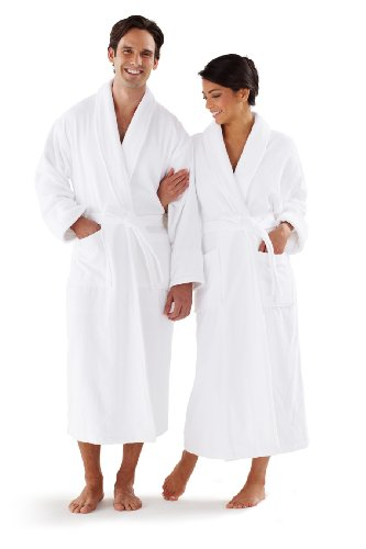 Terry Velour Shawl Collar Robe - Boca Terry Classic Shawl Collar Bathrobe White 14oz Velour One Size Fits All - Unisex