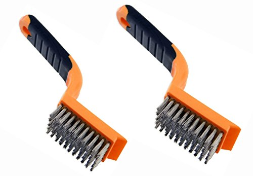 2 Rustproof ALAZCO Stainless Steel Brush - Great for BBQ Grills, Cleaning (Stainless Steel Cleaning Brush)