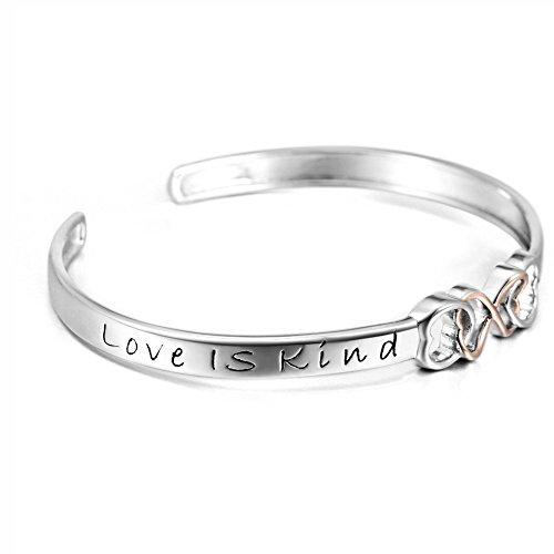 "Two tone 925 Sterling Silver ""Love Is Patient, Love Is Kind"" Infinity Love Adjustable Bangle"