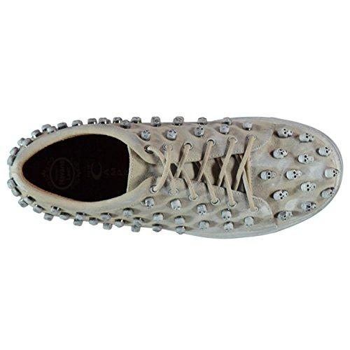 Jeffrey Campbell Riggs crâne Baskets pour femme Ivoire en étain/Fashion Sneakers Chaussures