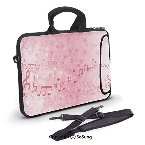 - 10 inch Laptop Case,Music Notes Pitch on Romantic Floral Background Classic Rhythm Art Inspiration Neoprene Laptop Shoulder Bag Sleeve Case with Handle and Carrying & External Side Pocket,for Netbook/