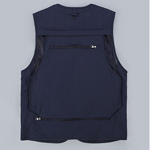 Work Waistcoat Chaleco Gift Zhuhaitf Casual pesca Dark Mens Pockets Vest Travels Mesh Fashion Multiple Fishing Father Blue de xXfqUCg